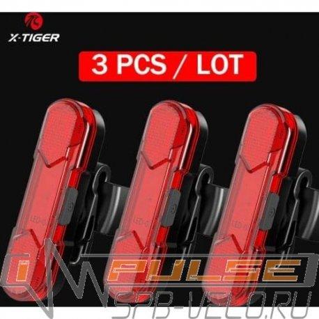 Фонарь задний X-TIGER  WD-0301(5 led /5 functions/USB)black