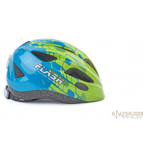 Шлем AUTHOR FLASH 161(green-blue)47-51cm(фонарик)