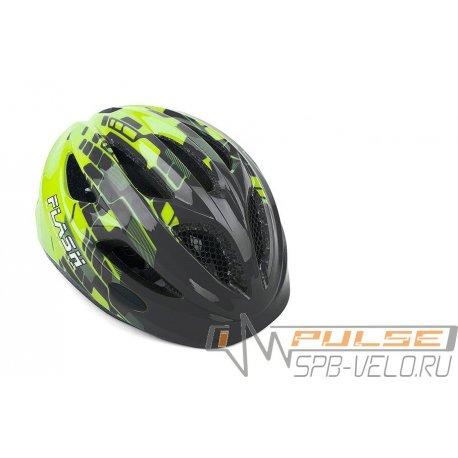 Шлем AUTHOR FLASH 171(grey/grn)47-51cm(фонарик)